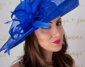 """Royal Blue Sun Hat - """"Charlotte"""" Royal Blue Flipped Brimmed Fascinator Sun Hat w/ mesh flowers and feathers"""