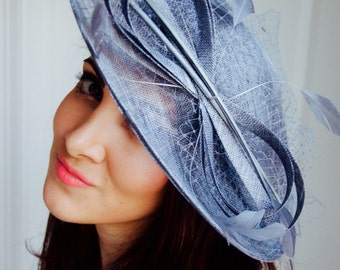 "Charcoal Gray Fascinator Hat - ""Wendy"" Wide Brimmed Fascinator Hat Headband"