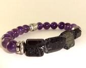 Protection Bracelet, Amethyst Bracelet, Black Tourmaline Bracelet, Stretchy Bracelet, Healing Bracelet, Crystal Jewelry, Spiritual Bracelet