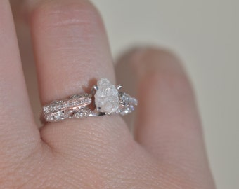 14k solid white gold- mounted raw rough diamond - solitaire-promise- engagement ring-Vintage style-Only available in size 6.5- ready to ship