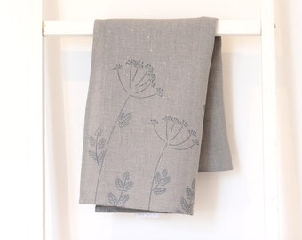 Grey tea towel - Dill on linen