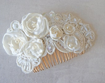 Embellished Ivory Hair Comb - wedding comb, wedding, hair comb, embellished comb, ivory, lace, gold plated