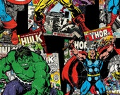 Marvel Avengers Vintage Comic Toss print cotton fabric by Springs Creative -  Captain America/Ironman/Avengers/Hulk/ Wolverine/Spiderman