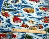LAST PIECE - 1 yard 32 inches Surf Hawaii Cars and Surfboards premium cotton fabric from Hoffman California