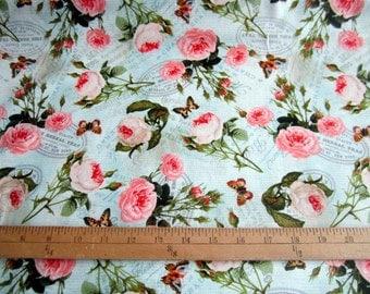 Teapot Flora Collection David Textiles Teapot Roses cotton quilting fabric - paris, teapots, teacups, floral, butterflies