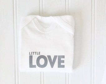 LITTLE LOVE hand printed baby romper, soft grey print on white footed romper suit, baby clothes, gender neutral baby gift