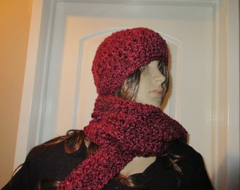 Glaret Red Scarf and Hat Set Ready to Ship