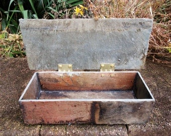 Colorful large slate box # LL-27 with hinged lid. Made from recycled weather beaten slate.