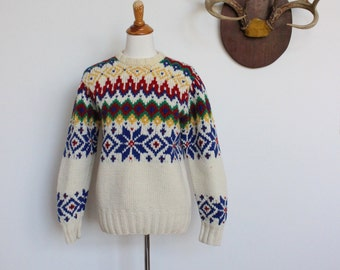 Vintage Ralph Lauren Hand Knit Sweater // Wool Scandinavian Sweater // Fair Isle Chunky Sweater