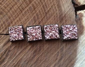12mm Champagne Rose Gold Square Druzy Stud Earrings Square Druzy Earring Druzy Earring Druzy Stud