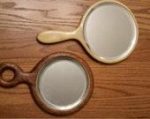 Vintage Art Deco Bakelite and Carved Wood Hand Mirrors