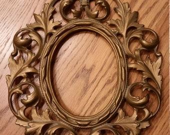 Ornate Brass Mirror Frame Vintage Baroque Acanthus Leaf