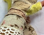 Recycled Sweater Vintage Crochet Arm Warmers Bohemian Boho Romantic Rustic Country Fairy Gloves Fall Autumn Accessory By SewWonderifical