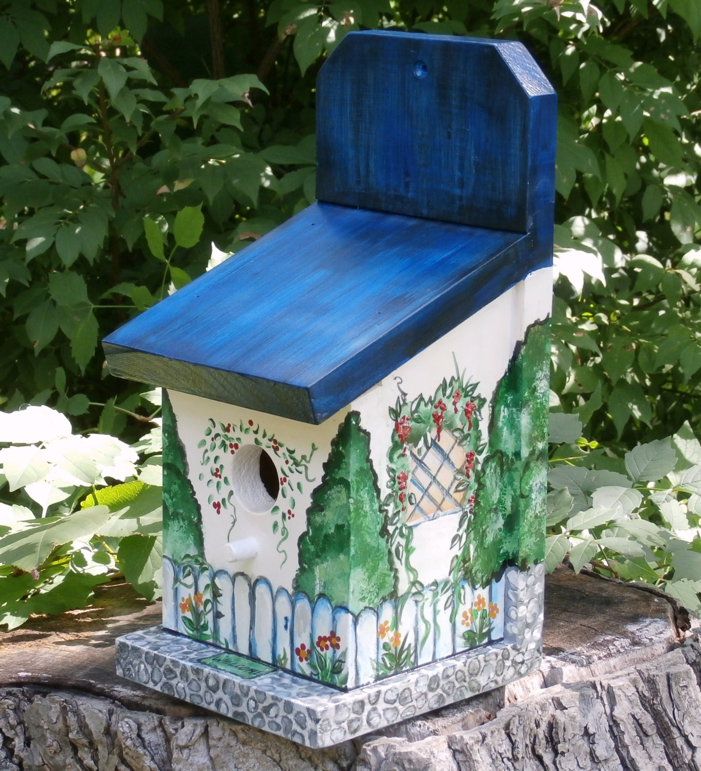hand crafted birdhouse indoor outdoor decorative by. Black Bedroom Furniture Sets. Home Design Ideas