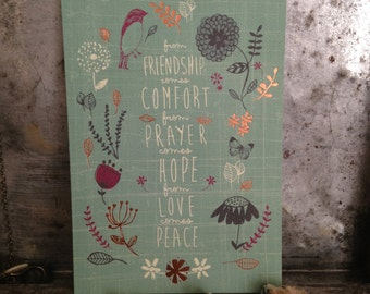 Condolence Card, Thinking of You, Sympathy Greeting Card - from Friendship comes Comfort
