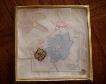 All Cotton Hand Rolled Hem Ladies Handkerchief Pair, Original Packaging and Tags, New Stock