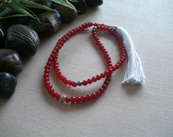 Mala Yoga Jewelry Mala Necklace Meditation Beads Prayer Beads Mala Beads Tassle Necklace Beaded Tassle Necklace Red Mala Buddhist Necklace