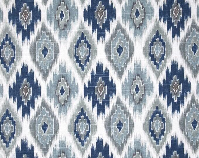 Designer Pillow Cover - Lumbar, 16 x 16, 18 x 18, 20 x 20,22 x 22, Euro - RDU MD Ikat - Blue and Grey