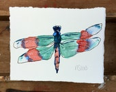 Dragonfly.  A signed original watercolor insect painting.