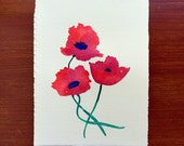 Poppies. An original floral watercolor painting.