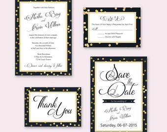 Instant Download Wedding Stationary Bundle - Wedding Invitation, RSVP, Thank You Card, Save the date - Word Doc