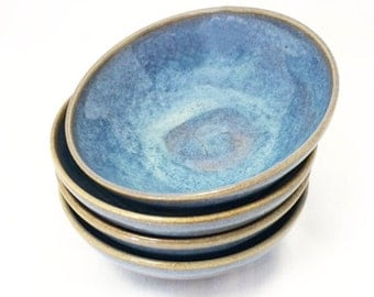 Little Blue Bowls - Ceramic, Textured Blue and Brown