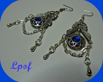 Boho Earings Bohemian Earings Earings Gift for Women Womens Gift Jewelry Weddings Boho Wedding Beach Filigree Earings Gypsy Earing R.Blue N5