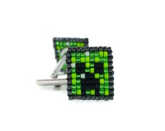 Minecraft Creeper Cufflinks - Mine craft Cufflinks Video Game Cufflinks Pixel Cufflinks Geeky Gift Geeky Cufflinks Minecraft Wedding