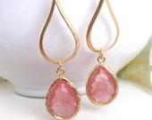 Grapefruit Pink Drop Earrings in Gold.  Coral Teardrop Drop Earrings.  Gift for Her.  Dangle Earrings. Drop Earrings. Bridesmaid Jewelry.