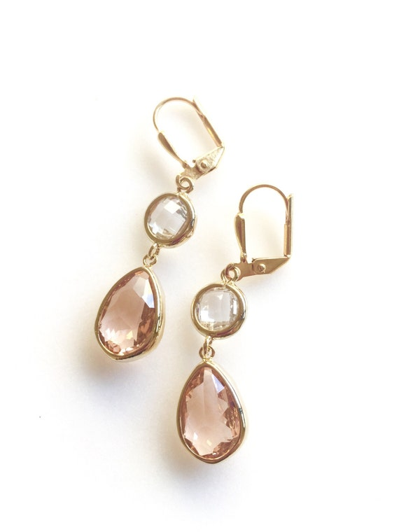 Smooth Champagne Bridesmaids Earrings in Peach and Clear Crystal. Wedding Jewelry. Dangle Earrings. Gift.