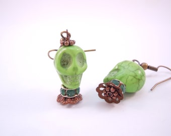 Green Magnesite Stone Skull Earrings with Swarovski Bling and Cute Coppery accents Day of the Dead and Halloween Fun Party Favors