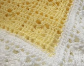 Light Yellow and White Crocheted Sweet Dreams Baby Blanket
