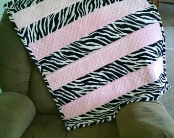 Zebra Minky Baby Blanket