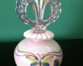 Fenton Perfume Bottle Pink Chiffon with Hand Painted Dragonfly