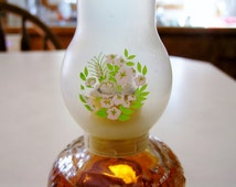 Vintage Avon Glass Miniature Atomizer Perfume Cologne Hurricane Oil Lamp Plastic Shade - Avon Miniature Oil Lamp Plastic Shade Flowers Avon