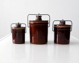 vintage stoneware ball lock jars, brown ceramic kitchen storage
