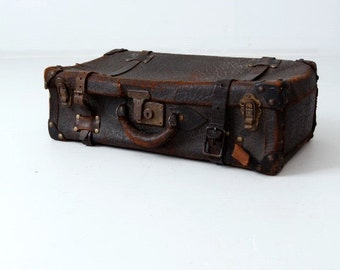 FREE SHIP  vintage leather suitcase, thick hide black luggage