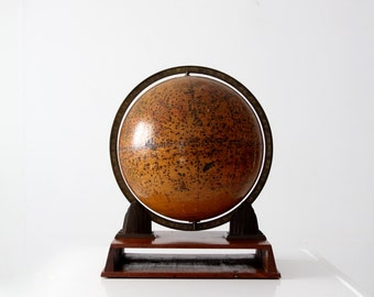 vintage Rand McNally Terrestrial Art Globe, art decor desk globe