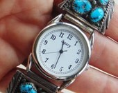 TURQUOISE Nugget 14 Sleeping Beauty Stones Watchband In Sterling Silver With Legacy Watch Men's Or Women's VERY NICE