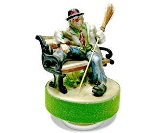 """Vintage Clown Music Box - """"King of the Road"""" -  Porcelain Bisque Clyde Clown Emmett Kelly Patches Hobo"""