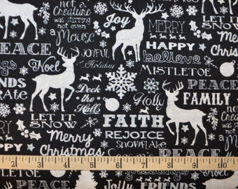 Timeless Treasures. Christmas Words Black - Cotton fabric BTY - Choose your cut