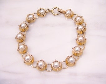 Vintage 14k Yellow Gold Genuine Akoya Pearl Bracelet