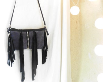 Fringe Purse in Grey Blue Suede and Black Leather - Woven Detailing - Boho Rock Chick Chic - Made to Order