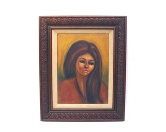 Vintage Painting Oil on Canvas Mid century Portrait of Woman 1960s Pretty Brunette Carved Wood Frame Listed Artist Pat Bostrom
