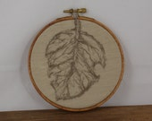 Embroidery Hoop art  Leaf Free style  wall hanging fall foliage Brown Beige contemporary wall textile art Home decor