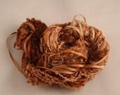 Caramel copper peach Weaving supplies Silk embroidery Thread Silk ribbon sewing quilting thread embellishment Hand Dyed Variegated thread