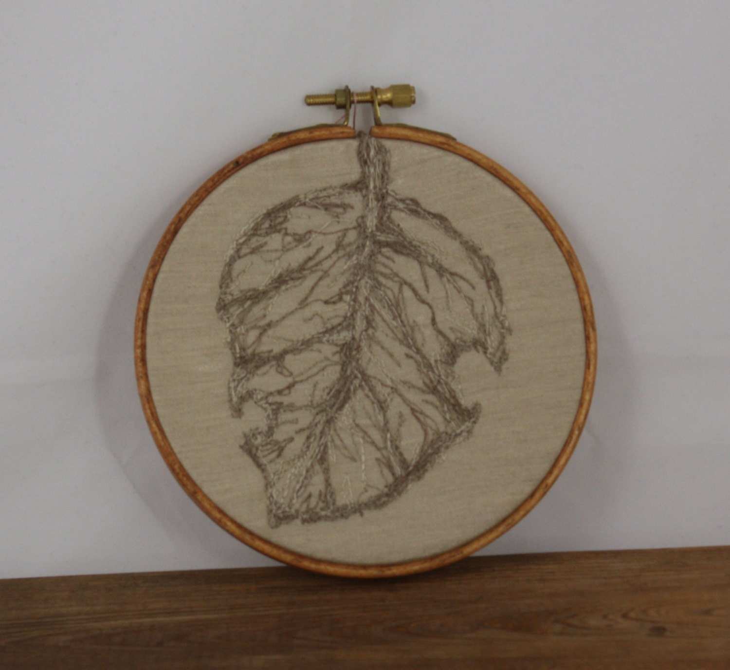 Embroidery hoop art leaf free style wall hanging fall