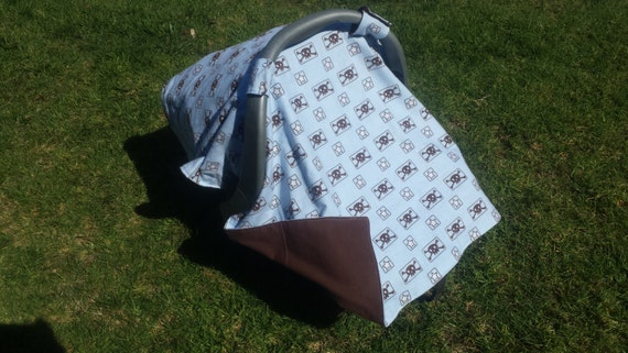 Car Seat Canopy Baby Punk and Matching Booties Skulls and Stars