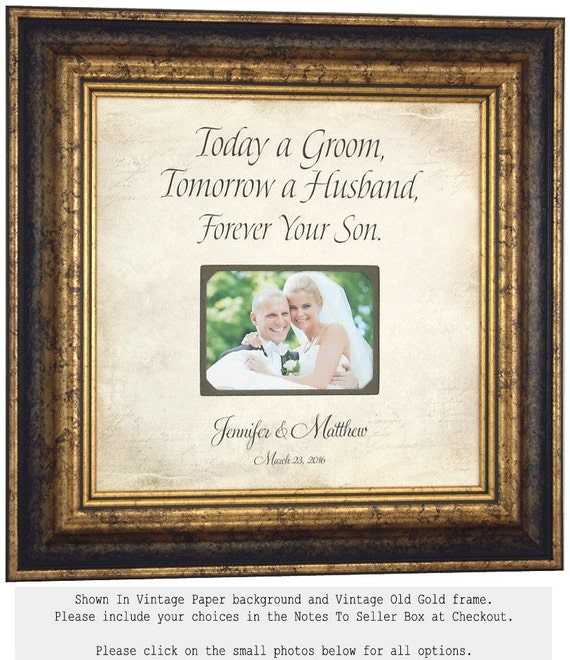 Mother Of The Groom Gift Personalized Picture Frame Wedding Custom 16x16 TODAY A GROOM Mom Thank You