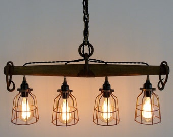 Rustic Industrial Yoke Chandelier, Modern Industrial Lighting, Four Light